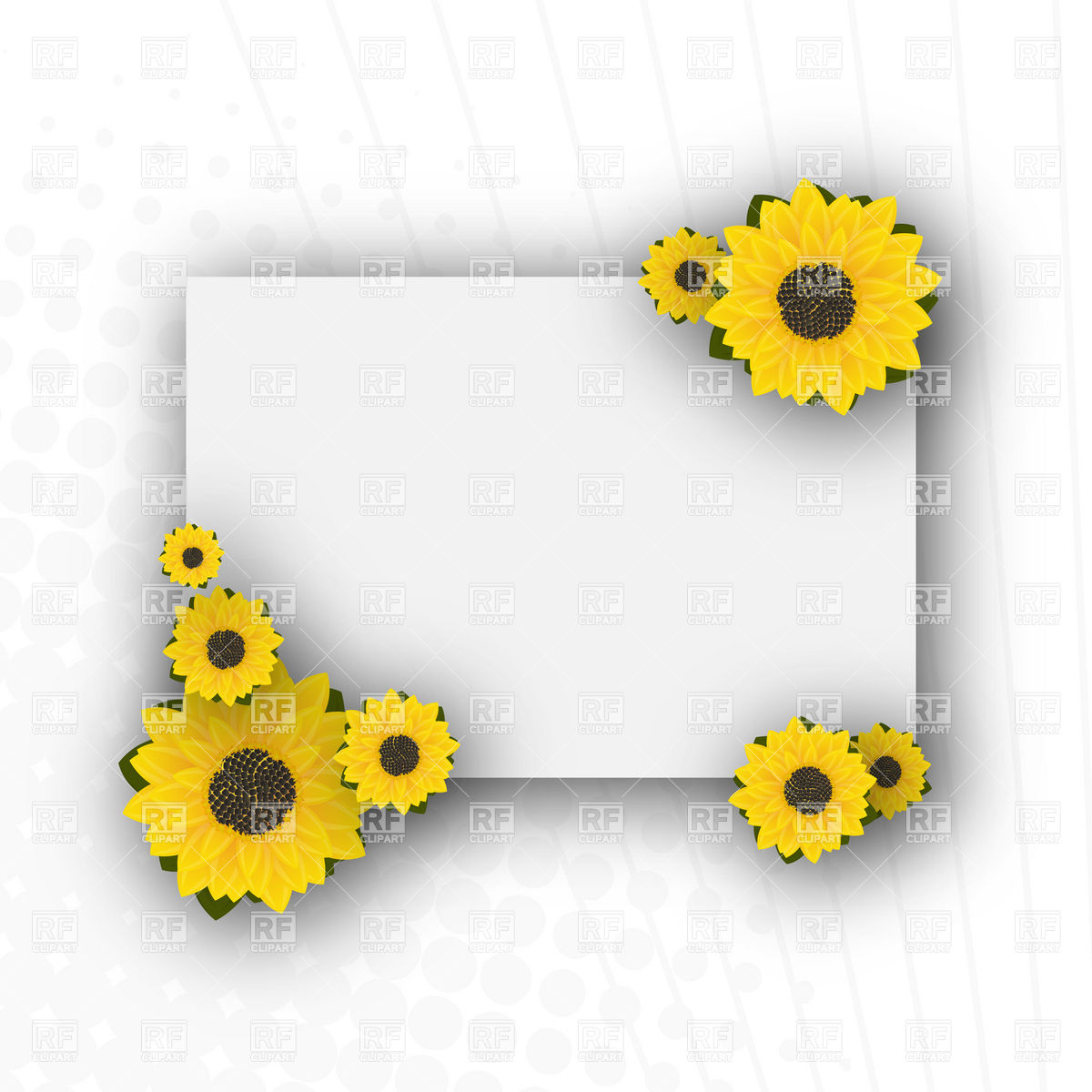 1200x1200 Empty Sunflowers Card Vector Image Vector Artwork Of Borders And