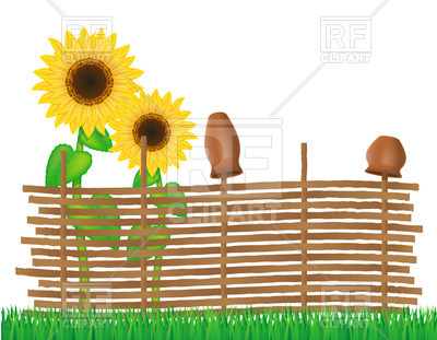 400x311 Rural Wicker Fence And Sunflowers Vector Image Vector Artwork Of