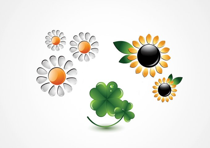 680x480 Free Flower Icons Sunflower, Chamomile And Clover Vectors (Free