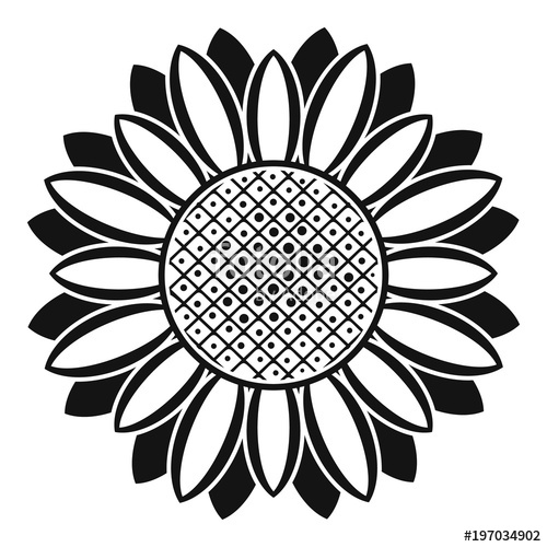 500x500 Circle Of Sunflower Icon. Simple Illustration Of Circle Of