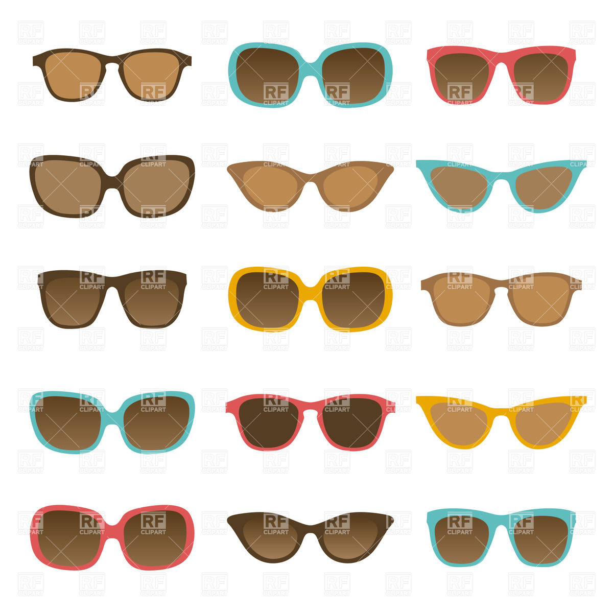 1200x1200 Collection Of Fashionable Sunglasses Vector Image Vector Artwork