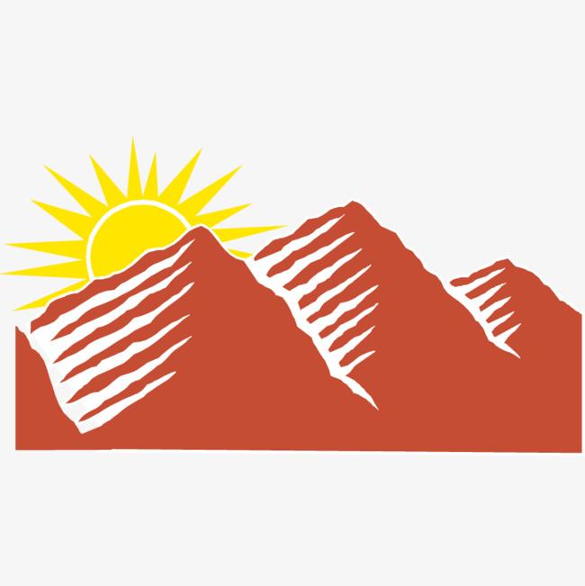 650x651 Red Mountain Sunrise Vector Material, Mountain Vector, Sunrise