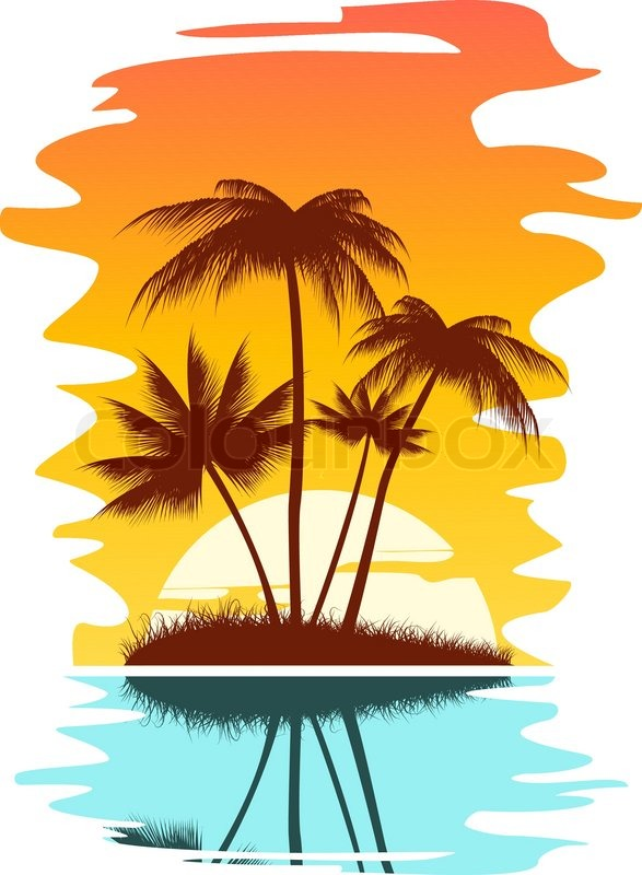 587x800 Tropical Abstract Background With Palms And Sunset Stock Vector