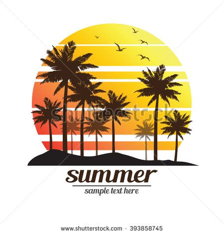 450x470 Tropical Palm Trees Island Silhouettes With Sunset , Vector