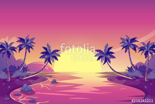 500x334 Tropical Summer Sunset. Vector Cartoon Island Landscape