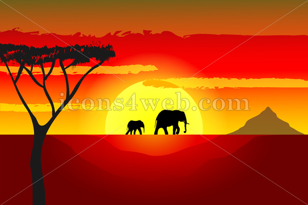 600x400 African Sunset Vector With Elephants Vector Illustration