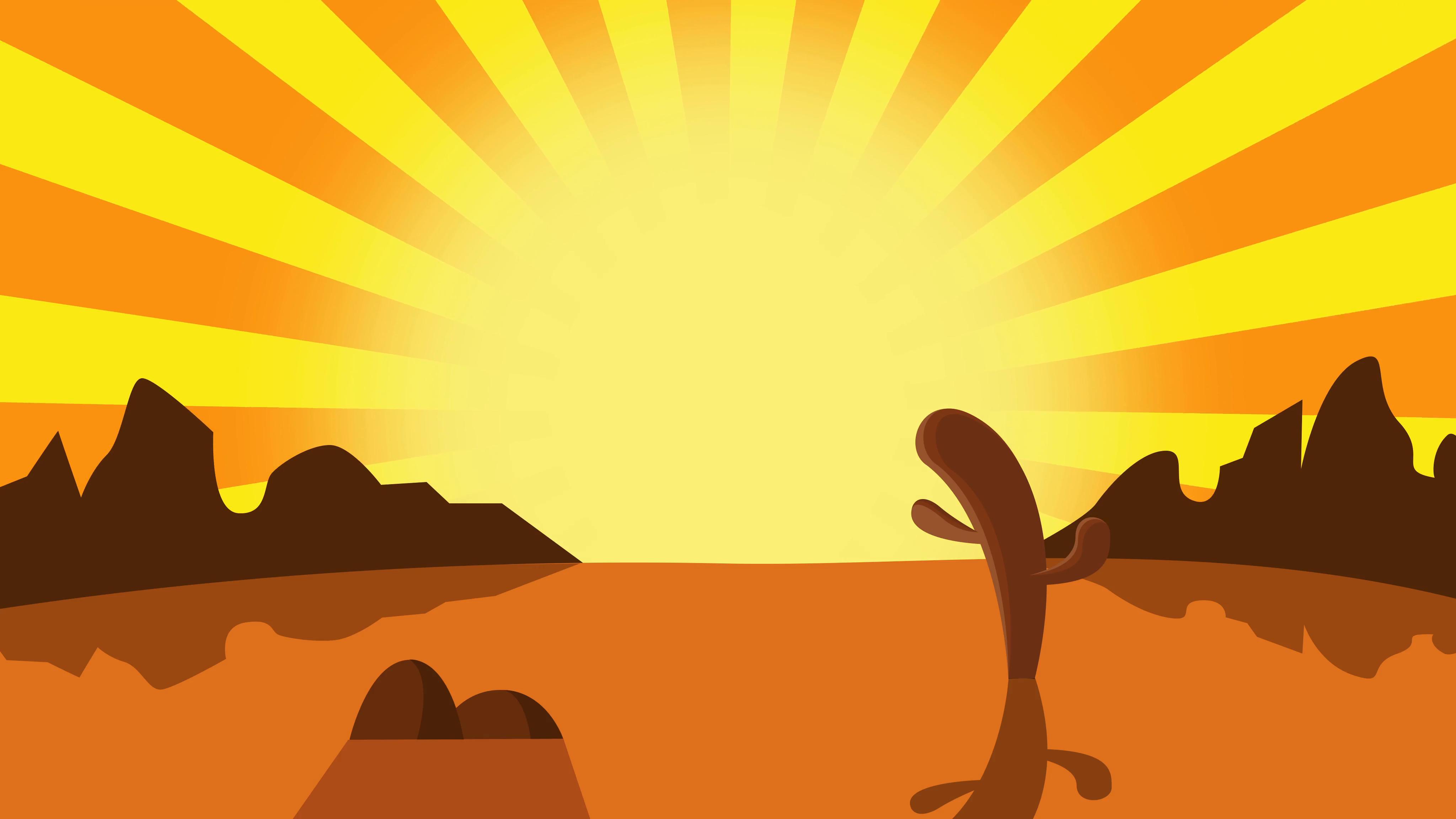 4096x2304 Cartoon Mexican Desert Background, Cactus Plants In Desert Sunset