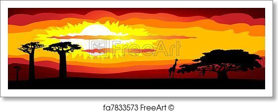 561x227 Free Art Print Of Africa Sunset