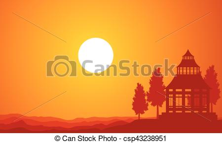 450x290 Silhouette Of Pavilion On The Sunset Vector Art.