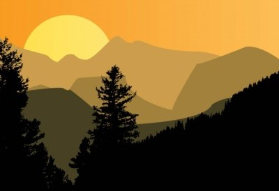 400x274 Vector Mountain Sunset Vector Art