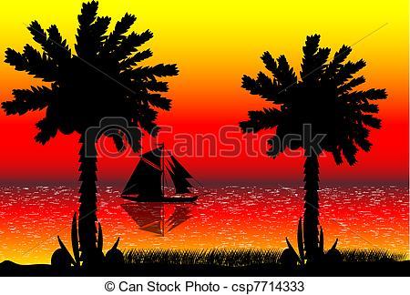 450x324 Vector Illustration Of Tropical Beach Sunset . Vectors