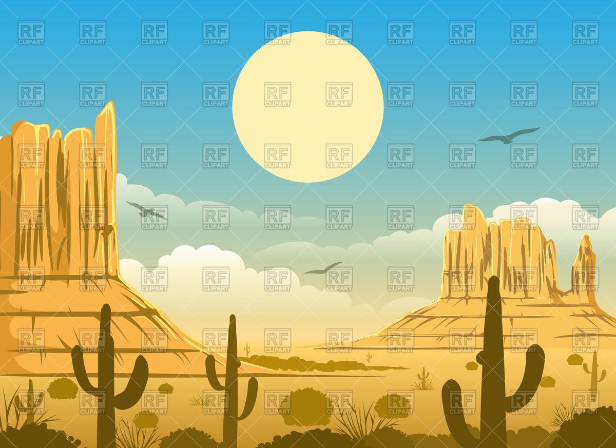 1200x873 Western Cartoon Mexican Desert Sunset Vector Image Vector