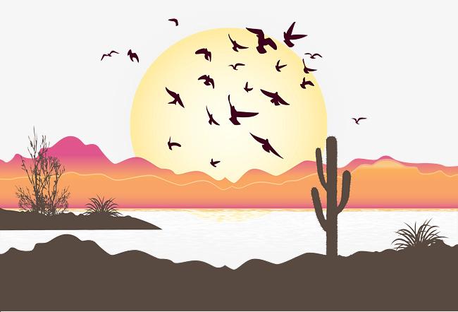 650x442 Desert Sunset Vector, Sunset Vector, Birds, Jungle Png And Vector