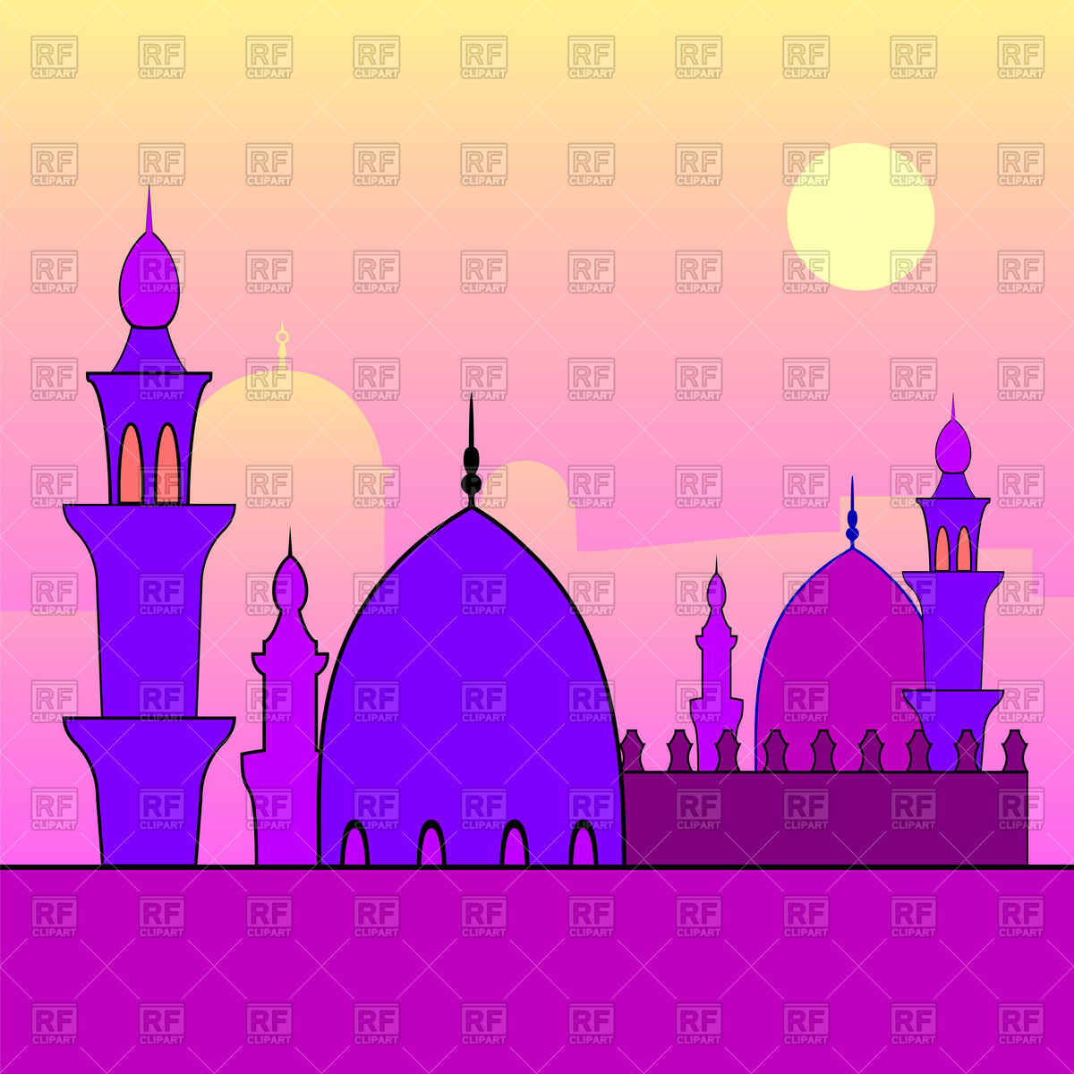 1200x1200 Evening Landscape With Mosques And Sunset Vector Image Vector