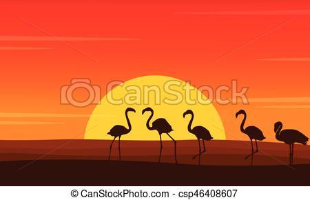 450x290 Flamingo Lined Scene