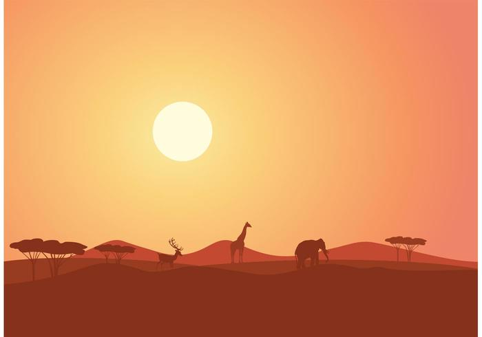 700x490 Free African Landscape At Sunset Vector