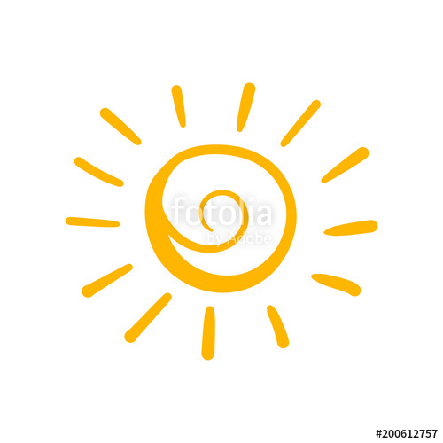 500x500 Hand Drawn Sun Vector Icon. Sun Sketch Doodle Illustration