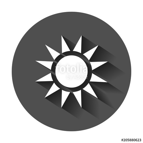 500x500 Sun Vector Icon. Summer Sunshine Illustration With Long Shadow