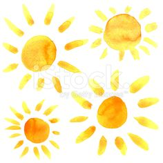 236x236 Watercolored Sun Royalty Free Stock Illustration Sunshine