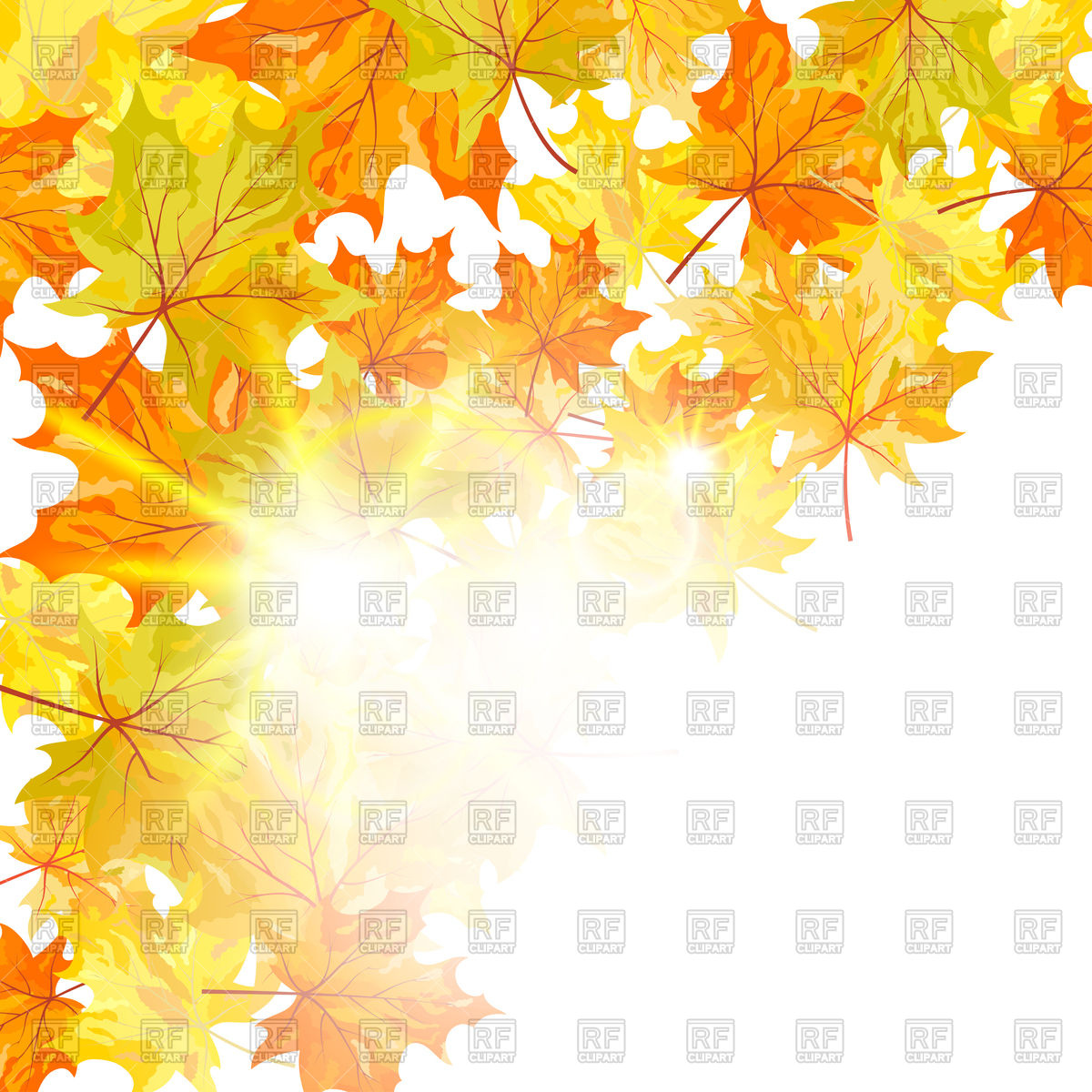 1200x1200 Autumn Maple Leaves Background And Sunshine Vector Image Vector