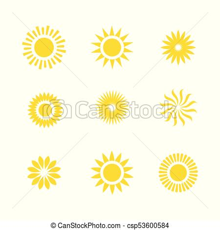 450x470 Basic Or Normal Sun Icon Set W Shining Rays Of Sun. Typical