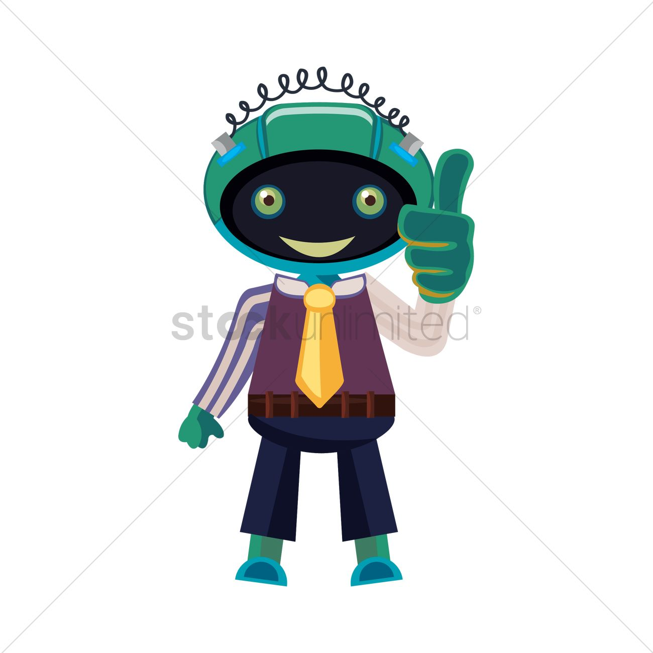1300x1300 Robot Showing Thumb Sup Vector Image