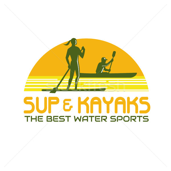 600x600 Sup And Kayak Water Sports Retro Vector Illustration Aloysius