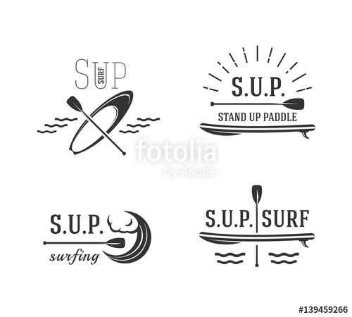 500x450 Stand Up Paddle. Sup Surfing Signs, Logos Stock Image And Royalty