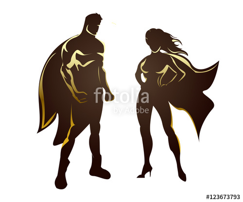 500x416 Super Man And Supergirl Silhouettes Stock Image And Royalty Free