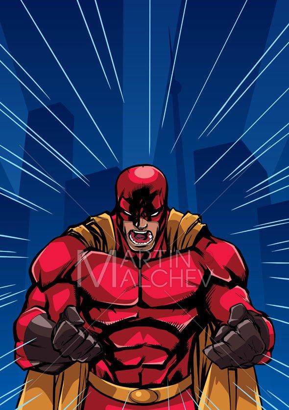 590x835 Screaming Superhero Background