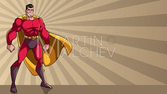 570x321 Superhero Standing Tall Ray Light Background Vector Cartoon Etsy