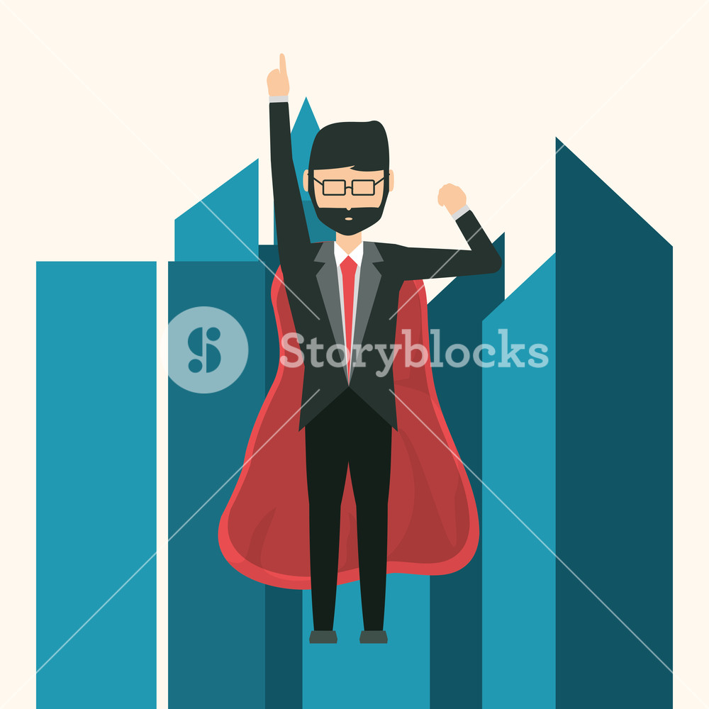 1000x1000 Superhero Businessman Flying Over City Buildings And White