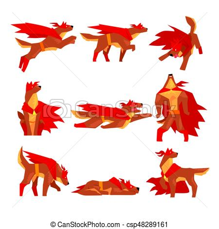 450x470 Dog Superhero Character Set, Dog In Different Poses With Red Cape