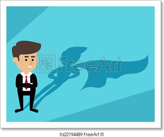 560x470 Free Art Print Of Businessman Superman Shadow. Businessman With
