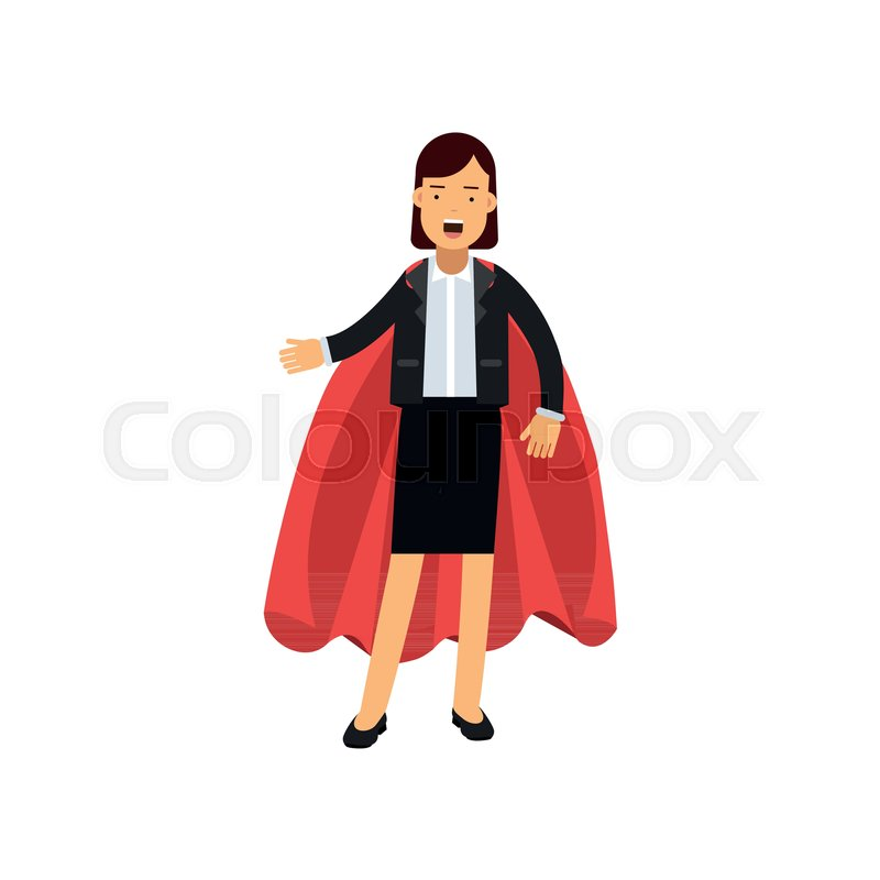 800x800 Full Body Portrait Of Business Woman With Red Superhero Cape