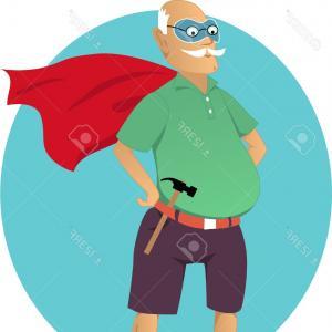 300x300 Photostock Vector Cartoon Old Man In A Mask And A Superhero Cape