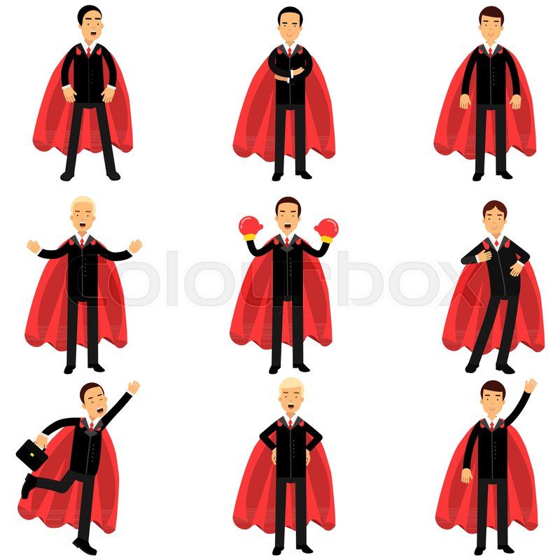 800x800 Set Of Business Man Character In Classic Black Suits With Red
