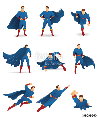 413x500 Superhero In Action. Set Of Superhero Character In 9 Different