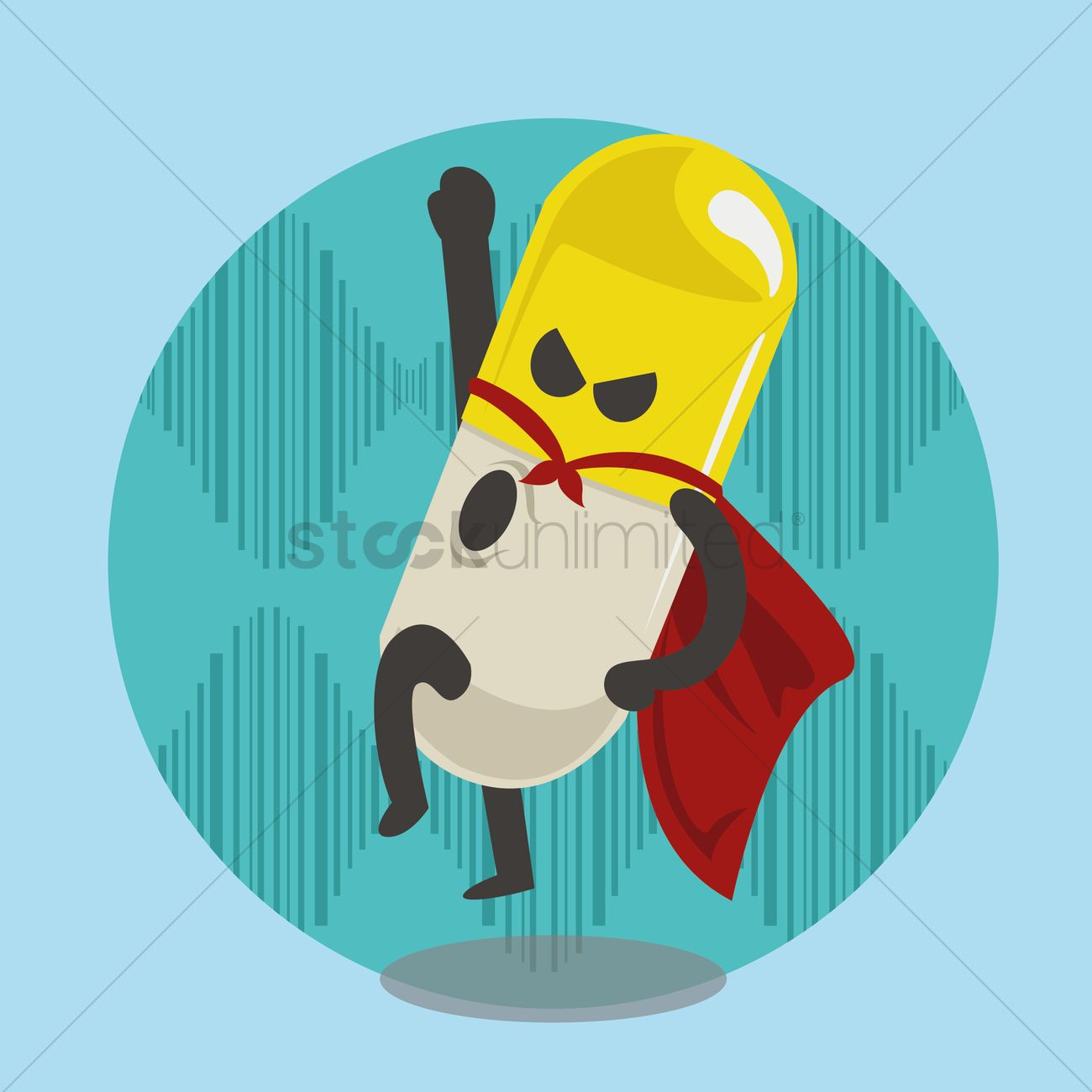 1300x1300 Superhero Pill Cartoon With Cape Vector Image
