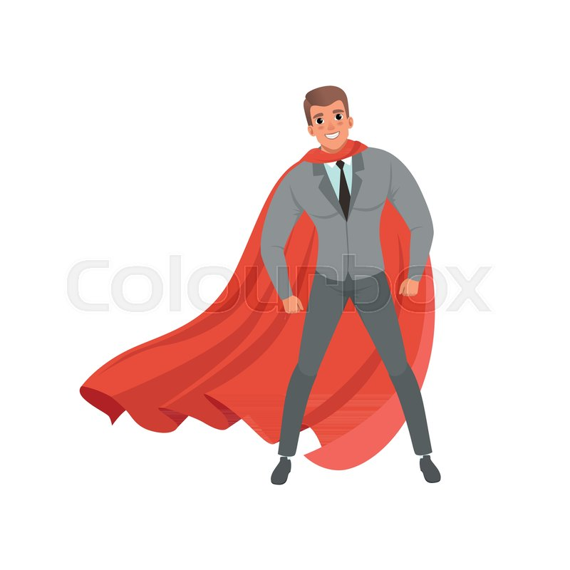 800x800 Young Confident Business Man With Red Superhero Cape Standing In