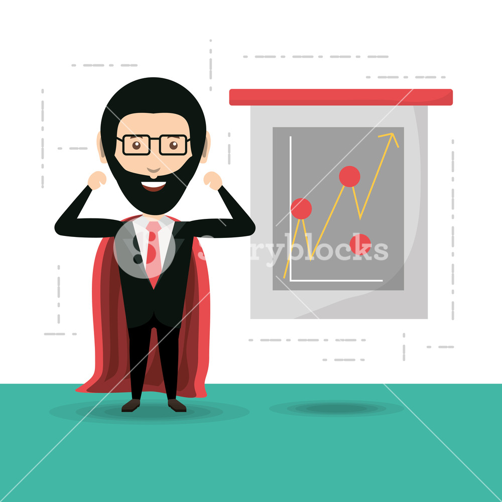 1000x1000 Cartoon Businessman With Superhero Cape Icon Colorful Design
