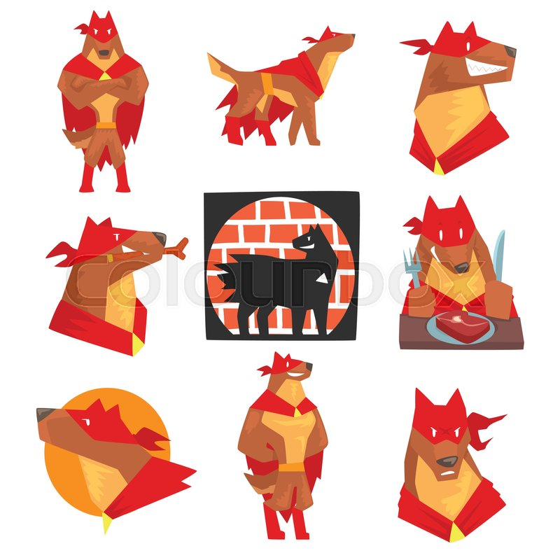 800x800 Dog Superhero Character In Action Set, Dog In Different Poses With