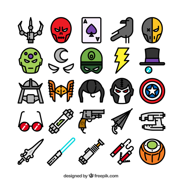 626x626 Superhero Icons Collection Vector Free Download
