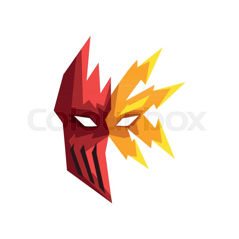 800x800 Red And Yellow Superhero Mask Vector Illustration Isolated On A