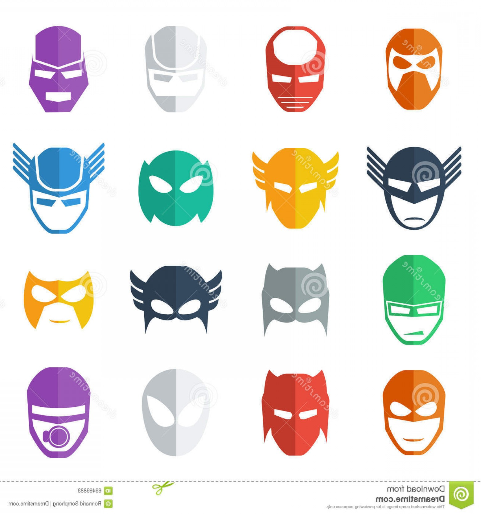 1560x1668 Stock Illustration Super Hero Mask Icon Colorful Illustration Flat
