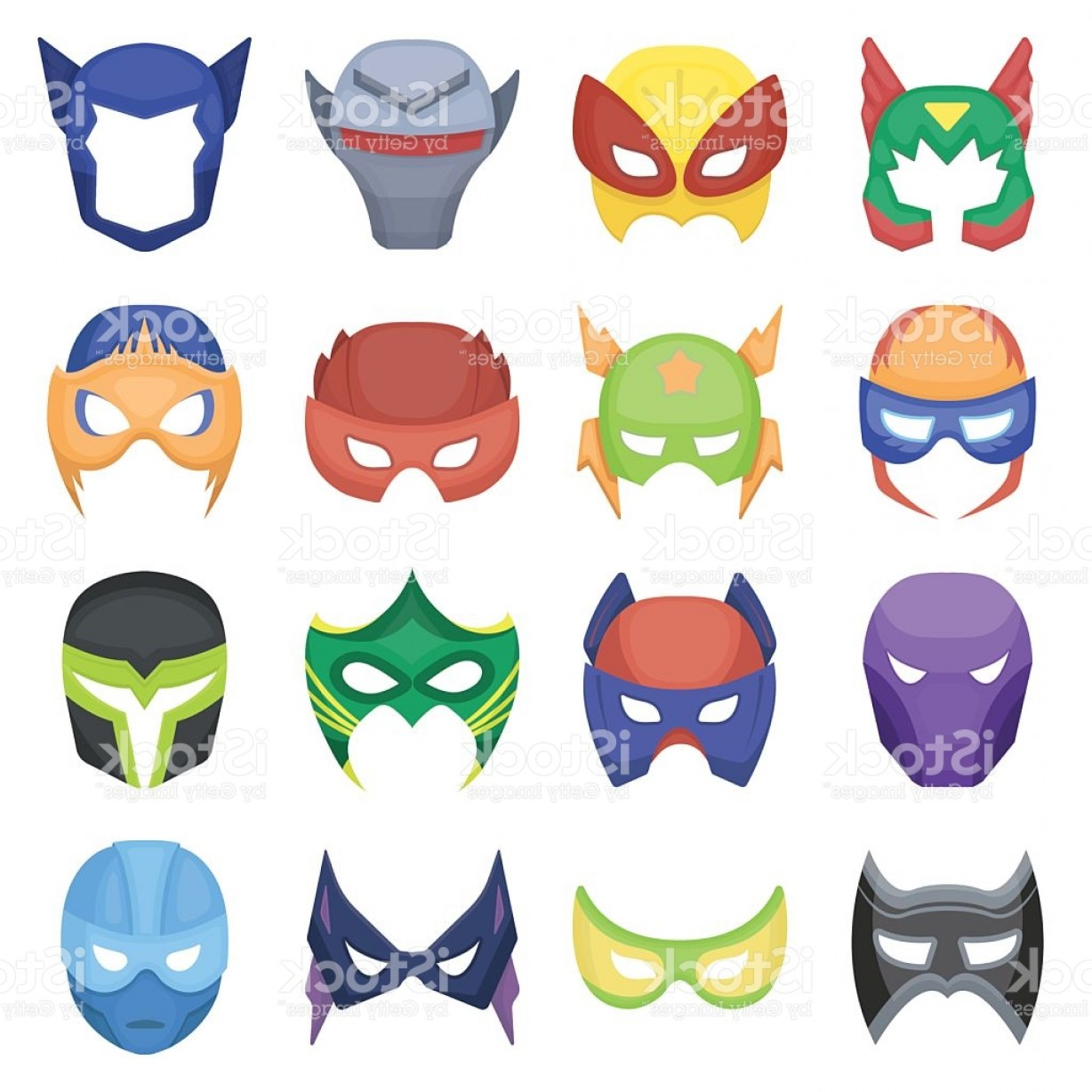 1228x1228 Superhero Mask Set Icons In Cartoon Style Big Collection Superhero