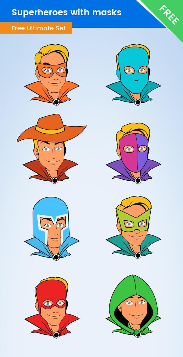 600x1168 Superhero Mask Vector