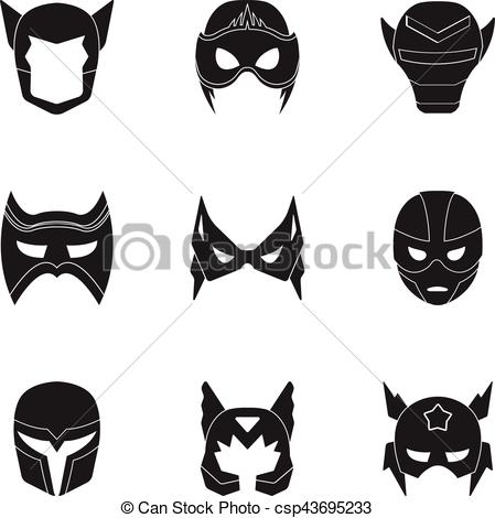 449x470 Superhero Mask Set Icons In Black Style. Big Collection Of