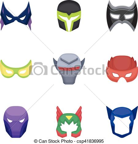 450x470 Superhero Mask Set Icons In Cartoon Style. Big Collection Of