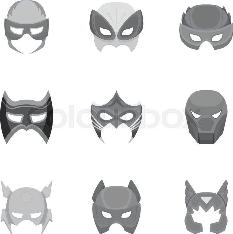 798x800 Superhero Mask Set Icons In Monochrome Style. Big Collection Of